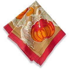 Couleur Nature Harvest Pumpkin Square Cotton Napkin ($65) ❤ liked on Polyvore featuring home, kitchen & dining, table linens, orange, cotton table napkins, colored napkins, couleur nature, pumpkin napkins and cotton table linens
