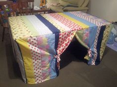 Dining table cubby house using fabric scraps.  The ones with window and felt…