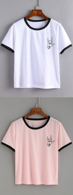 Less is more. #Contrast #Trim #LoveGesture #Print #Tshirt