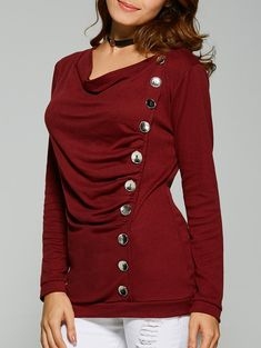 Ruched Button Design T-Shirt in Wine Red  0d158dbfa7