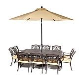 "Kingsley+Outdoor+Patio+Furniture,+11+Piece+Set+(84""+x+60""+Dining+Table+and+10+Dining+Chairs)"