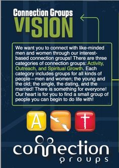 Next Level Church, Ft. Myers - publishes a connection guide 3x per year.  75% of attendees are involved in some type of group, whether it is activity based,  outreach based, or spiritual growth based.   Once you pick a category, the list groups by co-ed, men or women.  An amazing approach to getting people involved in community!
