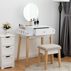 Wooden Makeup Dressing Mirror Table Set with 1 Drawer, Description If you looking for a unique but practical dressing table, please choose this dressing table Dressing Table Paint, Simple Dressing Table, Makeup Dressing Table, Dressing Table With Stool, Dressing Mirror, Dressing Area, Dresser Table, Vanity Table Set, Dresser Sets