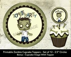 """Zombie Party Cupcake Toppers Birthday Party Favors Printable 2.5"""" Labels on Etsy, $2.25"""