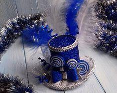 Christmas Top Hat Headband Christmas Hat Christmas Headband Mini Top Hat Blue Silver Top Hat Baby Girl Mini Hat Mad Hatter Hat Fascinator