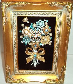 Vintage Framed Jewelry Art Blue and Gold by DazzlingJewelryArt
