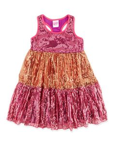 Tiered-Skirt Sequined Dress, Pink, 4-6X by Lipstik at Neiman Marcus Last Call.