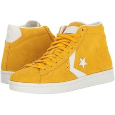 693e5de8edac25 Converse Pro Leather 76 Mid (Yellow Egret Egret) Classic Shoes ( 46) ❤  liked on Polyvore featuring shoes