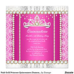 Pink Gold Princess Quinceanera Diamond Lace 5.25x5.25 Square Paper Invitation Card
