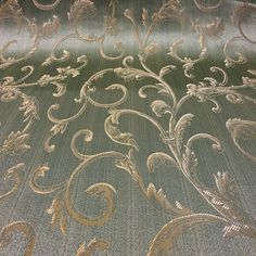 "Sage Green / Gold Damask Jacquard Vine Brocade Fabric 118"" By the Yard"