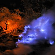 Kawah Ijen volcano has some spectacular blue lava during the night time, but shows glowing red during the day. It is the sulphur that causes the change in color.  Photo by Olivier Grunewald  Location: Banyuwangi Regency, Java, Indonesia Coordinates: 8.058°S 114.242°E