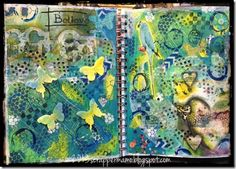 "Sentiments and Scrapbooks. I put together this art journal layout with basically ""stuff"" in ""piles"" on my table. The main part of the background is Gelli prints on coffee filters (blue and green acrylic paints)."