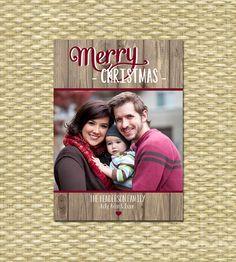 Rustic Christmas Photo Card  Customized DIY by SunshinePrintables
