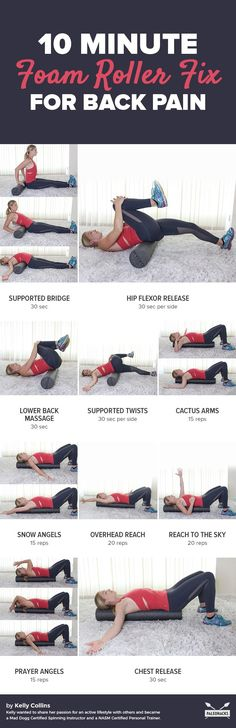 If you spend most of your day sitting at a desk or if you partake in a daily exercise program there is a high chance that you have experienced some sort of back pain at one point or another. This quick foam roller fix can help relieve tightness. Fitness Workouts, At Home Workouts, Foam Roller Exercises, Back Pain Exercises, Hip Stretching Exercises, Sciatica Stretches, Flexibility Stretches, Scoliosis Exercises, Foam Rolling