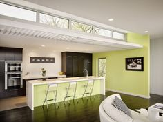 Clerestory Windows for a Contemporary Living Room with a White Oak and Soft Contemporary Home by RS Design Studio Modern Kitchen Lighting, Kitchen Modern, Green Kitchen, Clerestory Windows, Skylights, Loft, Window Design, Amazing Bathrooms, Interior Inspiration
