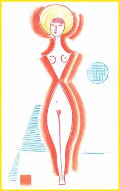 Mario Tozzi:1978 Fanciulla al Mare (litografia 5 colori 50x70 prodotta Studio Tozzi).