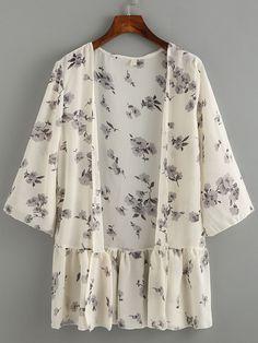 Kimono trim ruffle flower chiffon- (Sheinside) Source by Pequetiti Chemise Fashion, Kimono Fashion, Hijab Fashion, Boho Fashion, Fashion Dresses, Womens Fashion, Fashion Design, Floral Fashion, Chiffon Kimono