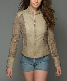 Cream Lace Faux Leather Jacket - Women #zulily #zulilyfinds