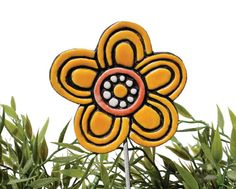 Flower garden art - plant stake - garden marker - garden decor - flower ornament - ceramic flower - blossom - yellow
