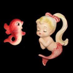 Vintage Japan Lefton Mermaid & Fish Ceramic Pink Wall Plaque