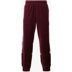 Adidas Originals Challenger Burgundy Velour Jogging Bottoms ($70) ❤ liked on Polyvore featuring activewear, activewear pants, red and adidas originals