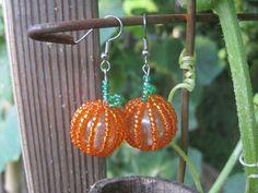 Festive Fall Beaded Pumpkin Earrings by GoosesGoldenEggs on Etsy