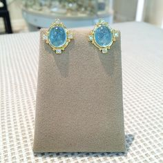 18k Yellow Gold and Diamond Chalcedony Earrings