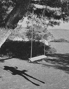 Hang a swing in your tree and spray paint the grass in the shape of a girl swinging