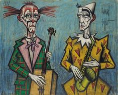 View Deux clowns, saxophone By Bernard Buffet; oil on canvas; Access more artwork lots and estimated & realized auction prices on MutualArt. Image Halloween, Illustrator, Image Nature, Pierrot, Images Vintage, Magazines For Kids, Saxophone, Magazine Art, Love Art