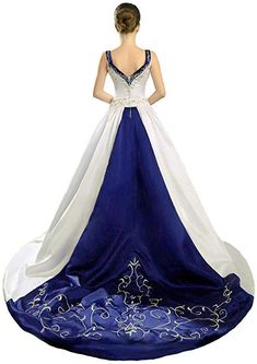Zorayi Women's Double Straps V-Neck Satin Wedding Dress Bridal Gown Iovy Blue Size 2 Colored Wedding Gowns, Blue Wedding Dresses, Bridal Dresses, Blue Dresses, Blue Mermaid Prom Dress, Open Back Wedding Dress, White Bridal, Types Of Dresses, Beautiful Gowns