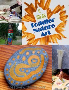 Bring nature into your child's life by making art using these simple ideas with natural items found on a walk through the woods or in your own back yard.