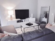Affordable Apartment/Home Decor affordablehomedecor homedecorideas White TV Stand Grey Couch 53409945568073242 Affordable Apartments, Living Room Decor, Grey Couch Living Room, Affordable Apartment Decor, Living Room Tv, Apartment Living Room, Living Room Grey, Living Room Tv Stand, Grey Tv Stand