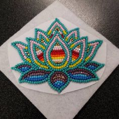 My Randomness at work. One side done. Native Beading Patterns, Bead Embroidery Patterns, Beadwork Designs, Beaded Embroidery, Bead Patterns, Bracelet Patterns, Indian Beadwork, Native Beadwork, Native American Beadwork