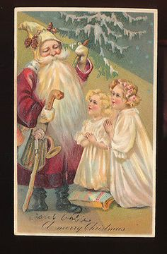 Santa Claus & Praying Children ~ Antique Embossed Christmas Postcard PFB-hhh351
