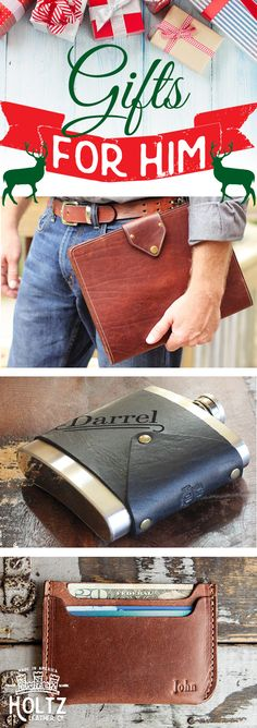 "These handmade leather gifts are sure to bring a smile to any man's face on Christmas morning! Check out these ""Gifts for Him"" from Holtz Leather."