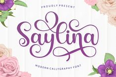 Saylina is a unique and beautiful handwritten font. It features amazing swashes and ligatures that make the script incredibly versatile. Ttf Fonts, Script Fonts, The Script, Apple Mac, Lettering Tutorial, Hand Lettering, Lettering Styles, Linux