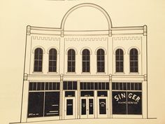 A sketch of the building when Singer occupied it.