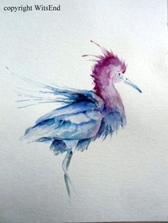 "'Not A Pterodactyl"".  Shore Bird watercolor painting original nursery art Little Blue Heron by 4WitsEnd, via Etsy"