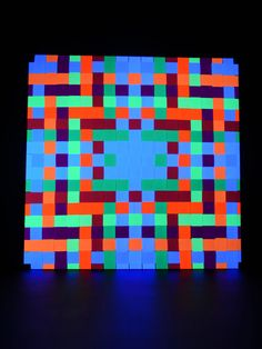 "90x90cm Psy Pixel ""Neon Square""  #schwarzlicht #stringart #fadendeko #deco #string #art #psy"
