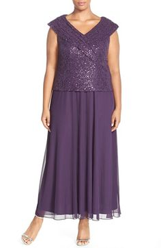 Patra Portrait Collar Sequin Lace & Chiffon Gown (Plus Size) available at #Nordstrom