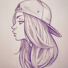Squeezing in some sketch time tonight. #doodle #sketch #illustration #art #drawing #girl #backwardshat #cameronmarkart