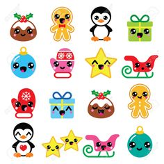 Christmas Kawaii icons - Christmas pudding, penguin, gingerbread..