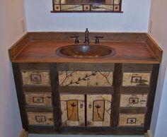 Rustic Birch Bark & Barnwood Vanity with Hand Hammered Copper Sink