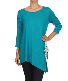 Loving this Blue Lace Sidetail Top - Women & Plus on #zulily! #zulilyfinds