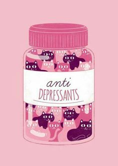 A bottle of pink and purple cats for anti depressants - pink aesthetic. Clever and creative illustration / design Crazy Cat Lady, Crazy Cats, Cute Kittens, Cats And Kittens, Kitty Cats, Art And Illustration, Illustrations, Creative Illustration, Gatos Cats