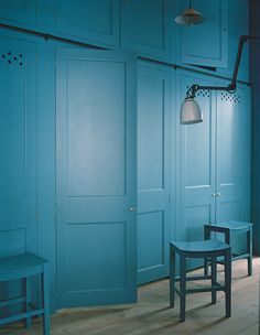 'The Anteroom' by Plain English | Cupboards and stools painted in 'Scullery Latch' by Adam Bray for Plain English www.plainenglishdesign.co.uk Lockers, Locker Storage, Cabinet, Furniture, Home Decor, Footlocker, Homemade Home Decor, Safe Deposit Box, Home Furniture