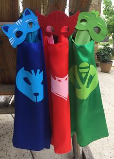 Personalized PJ masks cape and mask set ~ PJ Masks Costume ~ Gekko, Catboy & Owlette birthday party favors, - superhero capes Pj Masks Kostüm, Festa Pj Masks, Pj Masks Owlette Costume, 4th Birthday Parties, Birthday Party Favors, Boy Birthday, Pjmask Party, Party Ideas, Superhero Capes