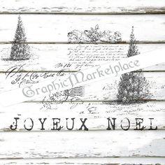 Joyeux Noel Merry Christmas Tree Shabby by GraphicMarketplace