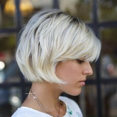 Short Platinum Bob With Bangs