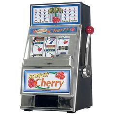 Cherry Bonus Mini Slot Machine and Bank ($30) ❤ liked on Polyvore featuring home, home decor, small item storage, mini piggy banks, coin box and coin bank